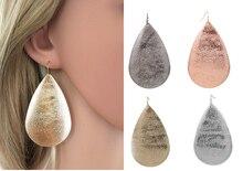 ФОТО hot selling dull polish cute big waterdrop iron dangle earrings for women fashion jewelry