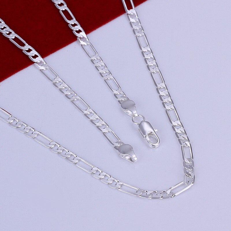 X87 hombres de la moda de joyerIa de 4 MM collar de cadena de plata estampado 925 oro (16-24 pulgadas)