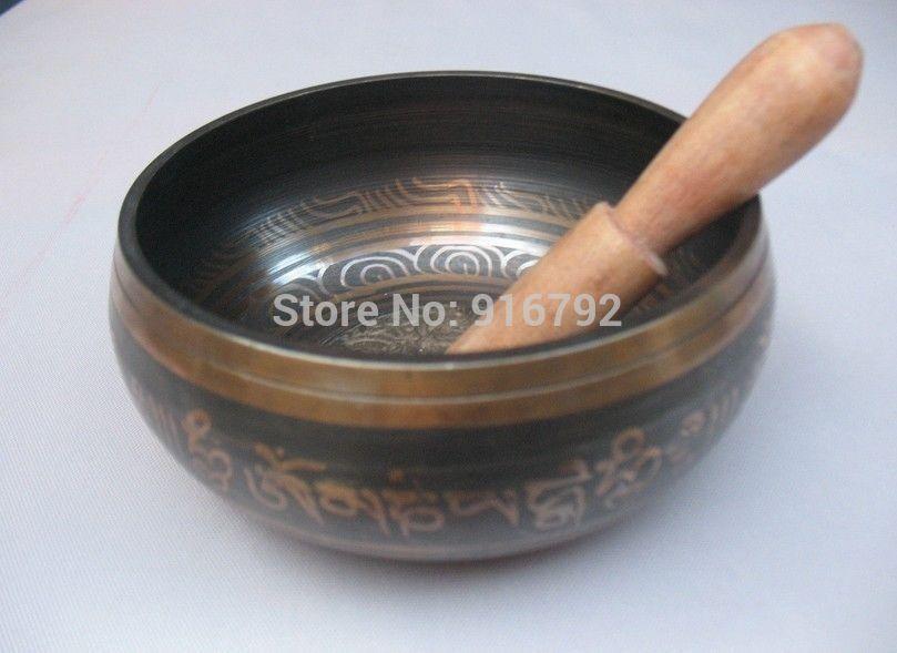 Asian Buddhist Mantra Traditional Tibetan Singing Bowls Bronze Buddha