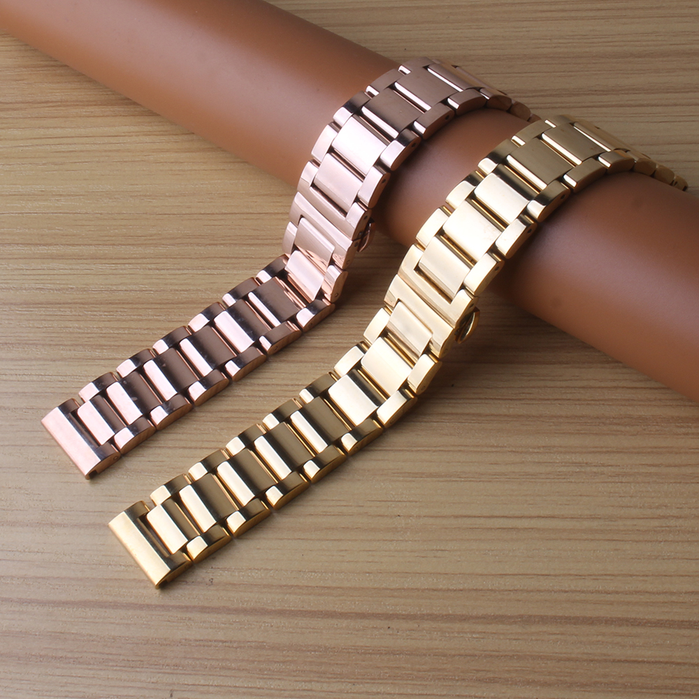 Watchbands Gold Stainless Steel Bracelet Strap butterfly buckele watch strap straight ends high quality watchband 18mm 20mm 21mm