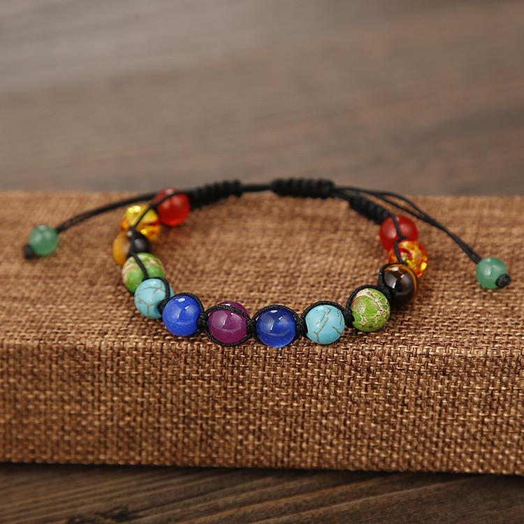 SEDmart DIY 7 rruaza shumëngjyrësh guri natyral Rrathë byzylyk - Bizhuteri të modës - Foto 4