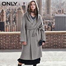 ONLY womens' winter new long wool double-faced woolen coat Side pockets Handmade|11836U509