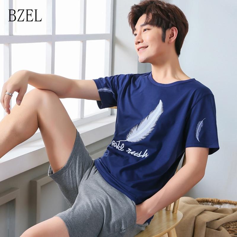 BZEL Pajama Shorts Men Summer Sleepwear Men Cotten Nightwear Lingerie Casual Homewear Homme Sleepshirt Men Lounge Sets Big Yard