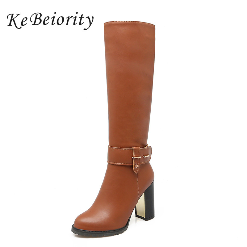 KEBEIORITY Platform Booties For Women Knee High Boots White Black Round Toe High Heels Boots 2017 New Fashion Sexy Leather Boots women ankle boots 2016 round toe autumn shoes booties lace up black and white ladies short 2017 flat fashion female new chinese