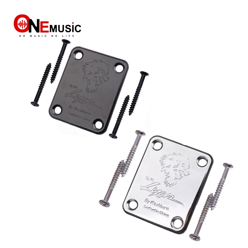 electric bass guitar neck joint plate with logo chrome connecting strengthen guitar accessories. Black Bedroom Furniture Sets. Home Design Ideas