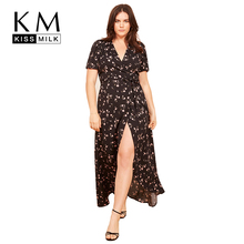 Kissmilk Plus Size Women Floral Print Wrap Sweet Holiday Waist Tie Deep V Neck Short Sleeve Split Front Midi Dress цена 2017