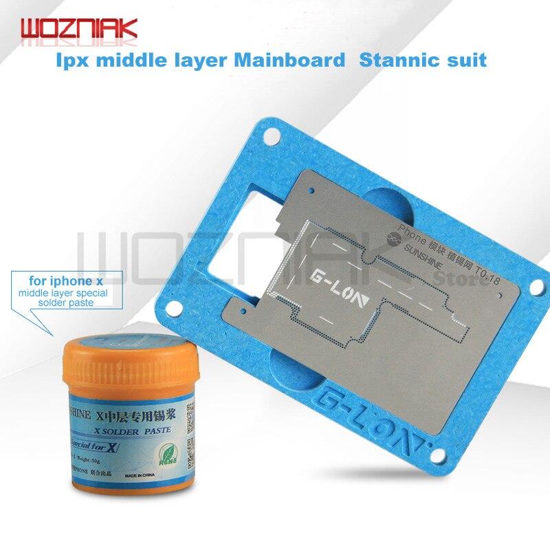 Wozniak Pour iPhone x moyen-niveau carte mère Tin usine Costume Spécial fixe mobilier de positionnement plate-forme + pâte à souder spécial