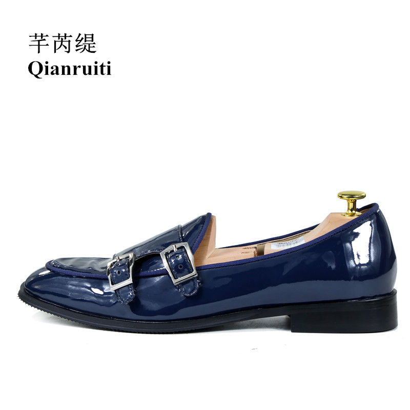 Qianruiti Men Dress Shoes Patent Leather Buckle Oxfords Business Wedding Flat Italian Fashion High Quality Loafers EU39-EU46 qianruiti men alligator gold loafers metal toe business wedding oxfords high quality lace up slippers men dress shoe eu39 eu46