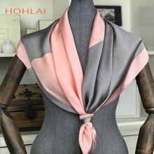 2018 新冬無地正方形のスカーフ女性のための男性新色の絹のスカーフ 90*90 センチメートル秋シルクマフラーイスラム教徒スカーフ