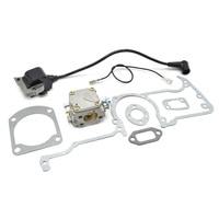 Chainsaw Carburetor Ignition Coil Gasket Set for Cylinder Manifold Carburetor Muffler fits Husqvarna 61 66 162 266 268 272 Parts