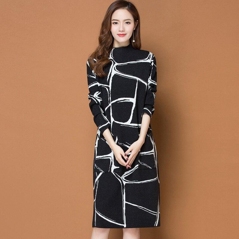 2XL marque robe automne hiver femmes robe nouveau tempérament OL banlieue irrégulière ligne robe Hit couleur lâche fond robe femme