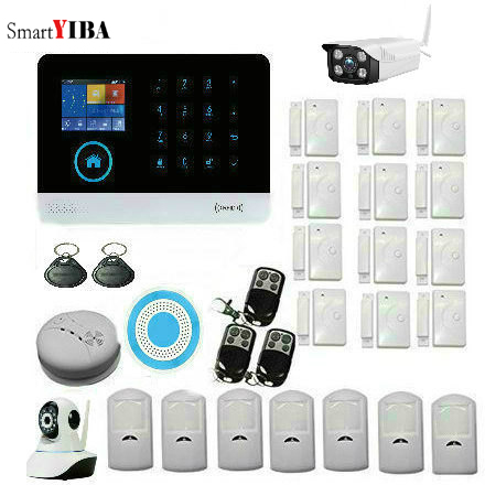 SmartYIBA WIFI GSM GPRS English French Switchable RFID card Wireless Home Security Arm Disarm Alarm system APP Remote Control