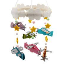 DIY Craft Aircraft Aeolian Bells Baby Bed Ornaments Felt Aeolian Bells Kit Wall Hanging Decor Felt Toy Plane and Could Craft Kit plus size scoop neck aeolian bells tank top