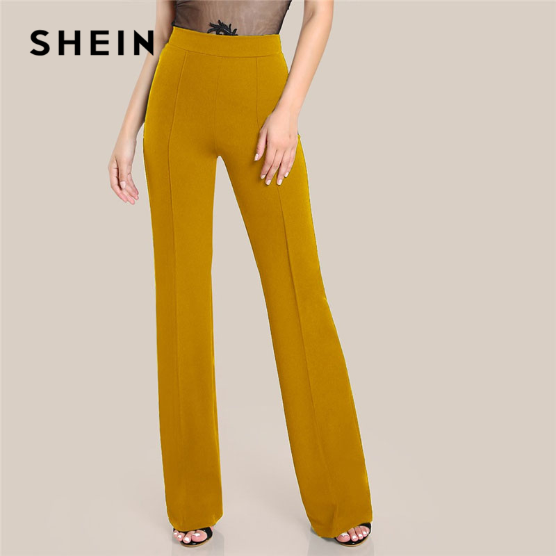 SHEIN Ginger High Rise Piped Pants Elegant Wide Leg Zipper Fly Plain Workwear Trousers Women Stretchy Highstreet Autumn Pants