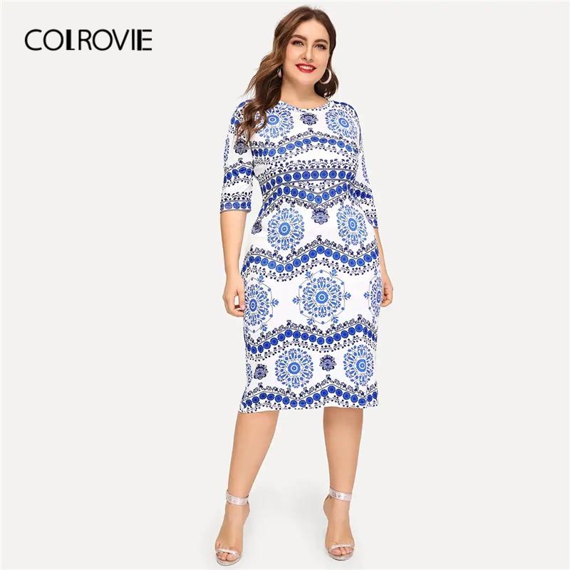 COLROVIE плюс Размеры синий и белый фарфор печати Bodycon Вечерние Платье Для женщин 2019 Лето Половина рукава женский элегантный миди платья