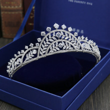 Full Cubic Zircon Tiara CZ Crown Bridal Headpiece Wedding Hair Accessories Diadem Jewelry Bijoux Cheveux Coroa Novia WIGO1055