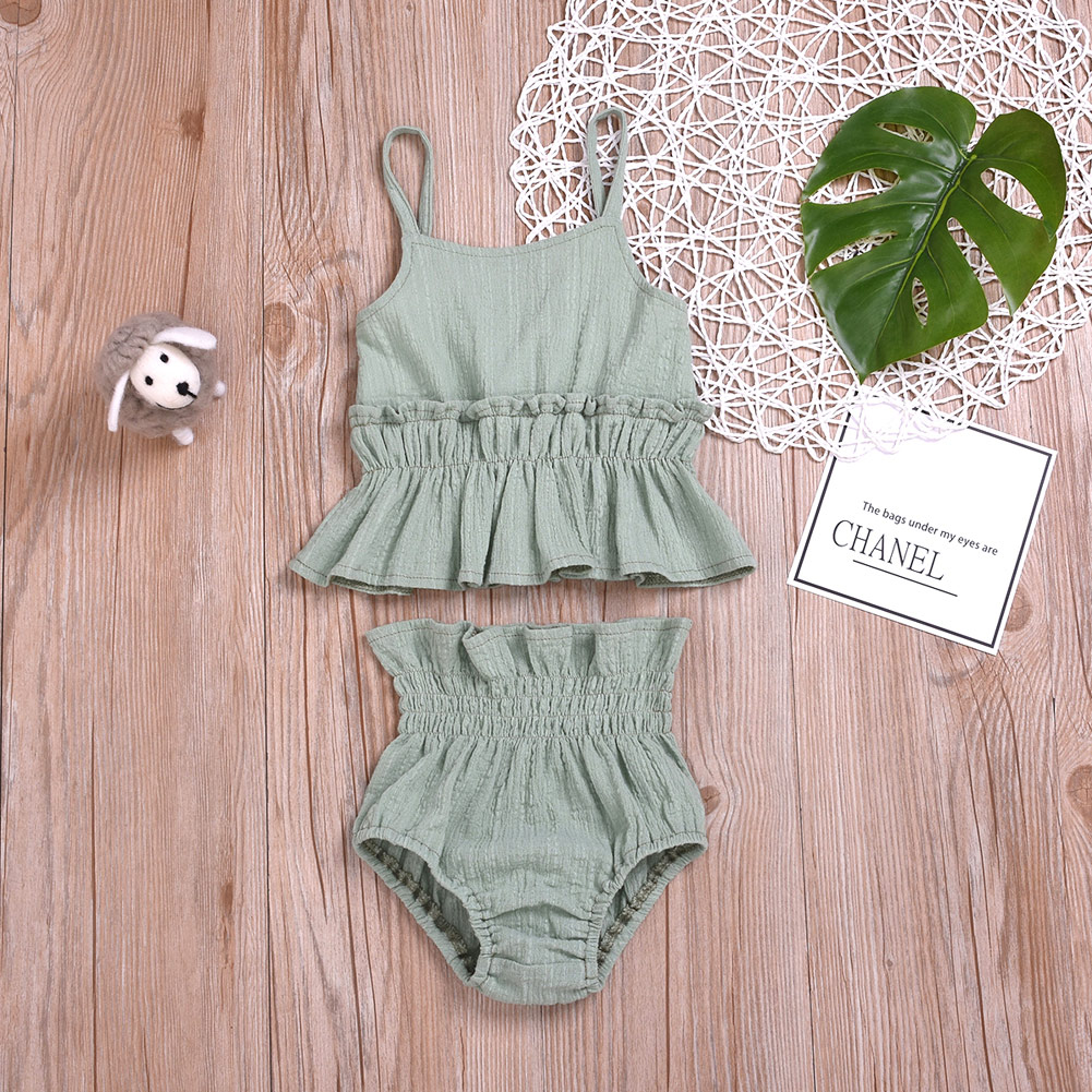 Pudcoco Summer Newborn Baby Girl Clothes Solid Color Ruffle Strap Cropped Tops Short Pants 2Pcs Outfits Cotton Clothes
