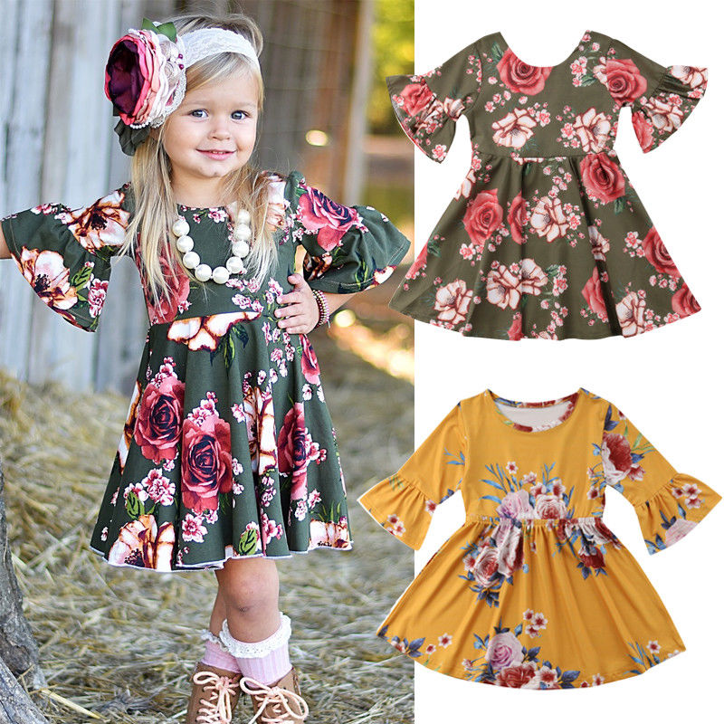 Kid Princess Toddler Girl Flower Dress Cotton Casual Party Gown Floral Dress casual floral