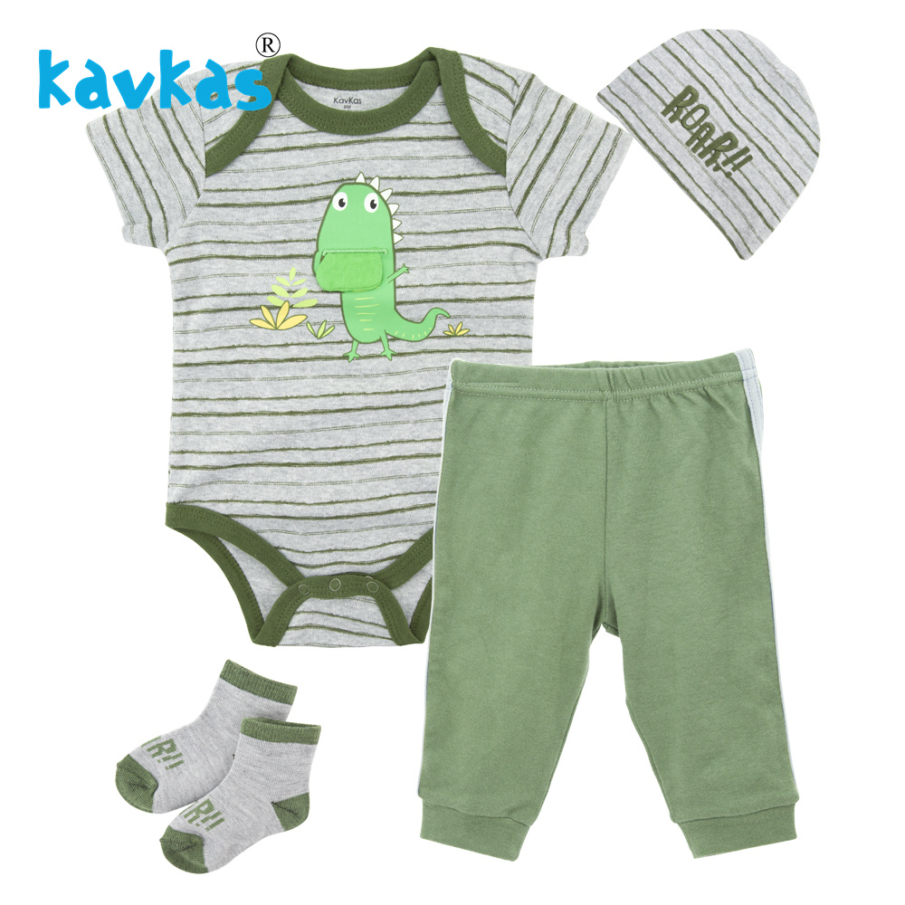 Kavkas Newborn Baby Boy Clothes Set Green Dinosaur Romper + Hat + Pants + Shoes 4pcs Clothing Suit