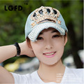 LGFD2016C21  wholesale 2016 spring   women femal CROWN print  Rhinestone Bling Denim  Baseball cap Snapback  hat