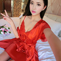 Sexy Satin lace Robe Nightgown Set Silk Robe Nightgown Robe Sleeping Night Robe Nightgown Set  women faux silk pijamas mujer