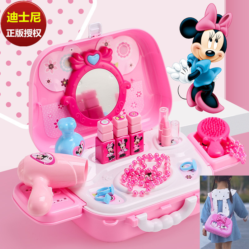 Disney Backpack Toy Genuine Cartoon Minnie Mouse Makeup Dressing Table Makeup Box Girls Makeup Toy Christmas Present
