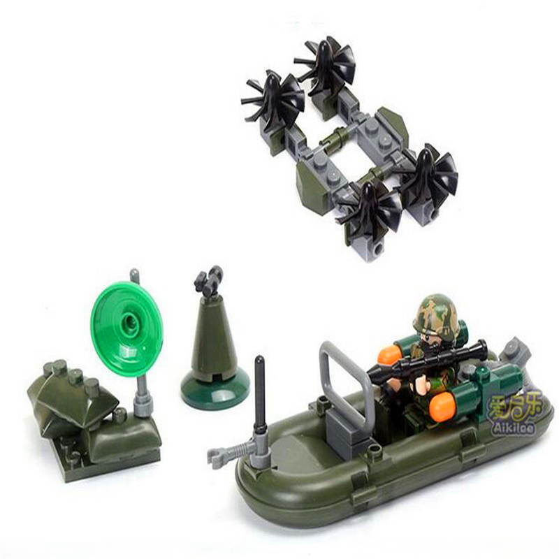 Image 4 - GUDI 8009 4 In 1 Military Firewar UAV Boat Outpos Soldier Lookout Dog Building Blocks Brick Set Compatible Playmobil Toys-in Blocks from Toys & Hobbies
