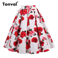 Tonval Vintage Pleated Skirt Navy Blue Floral Print High Waist Skirts Womens Retro School Summer 2019 Skirt 2