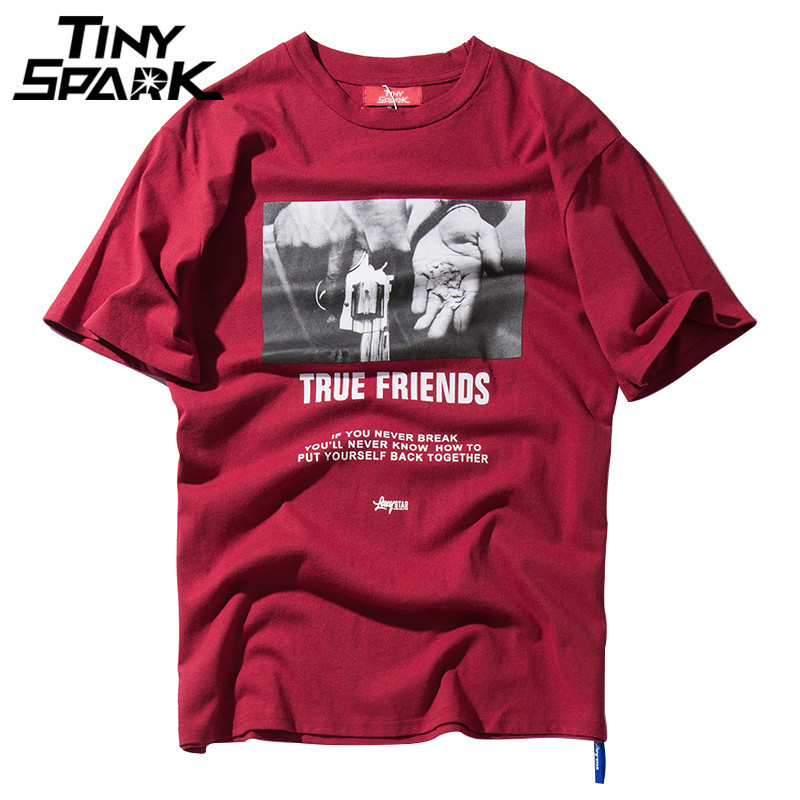 Hip Hop T-Shirt Hand Gun Print T Shirts 2018 Summer Casual Loose Tops Tees Cotton Mens Streetwear Tshirts Friends Short Sleeve