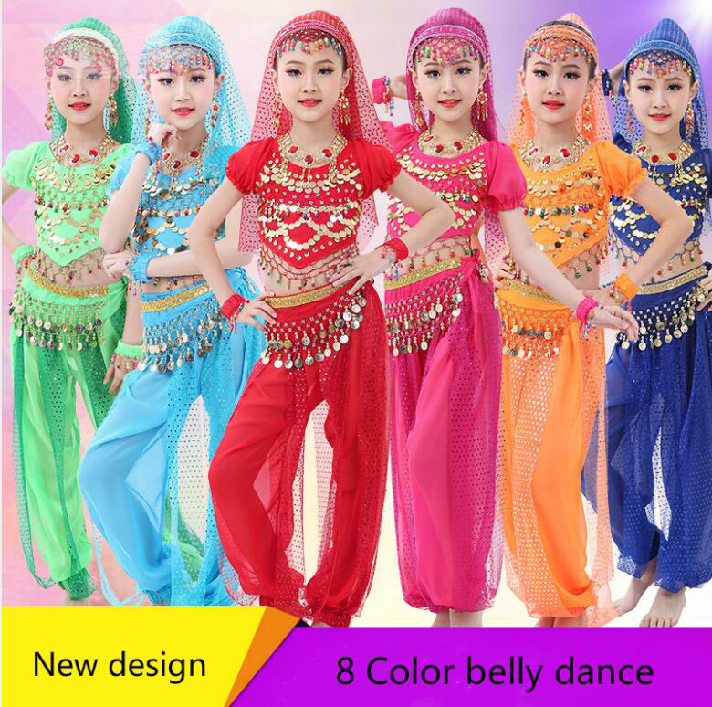 New Arrival Girls Belly Dance Clothing Kids Belly Dancing Clothes Indian Dance Suits Children Oriental Dance Costumes Set индийский костюм для танцев девочек