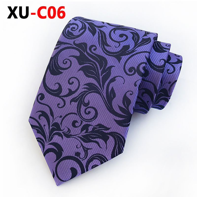 2018 New Silk Jacquard 8cm Tie PURPLE Barocco Scroll  Necktie  Male Fashion Accessories