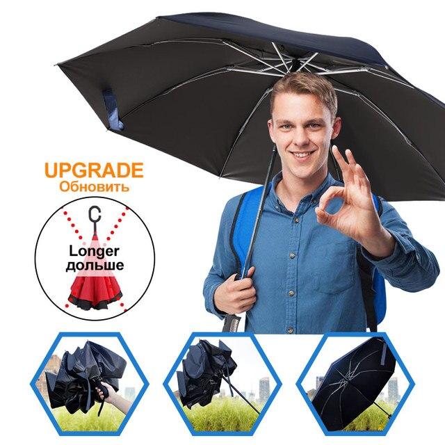 Pieghevole Reverse Ombrello Pioggia Rivestimento occhiali da Sole Degli Uomini Delle Donne Grande Antivento Nero Ombrelli Regali Parasole Automatico di Affari Auto Paraguas 6