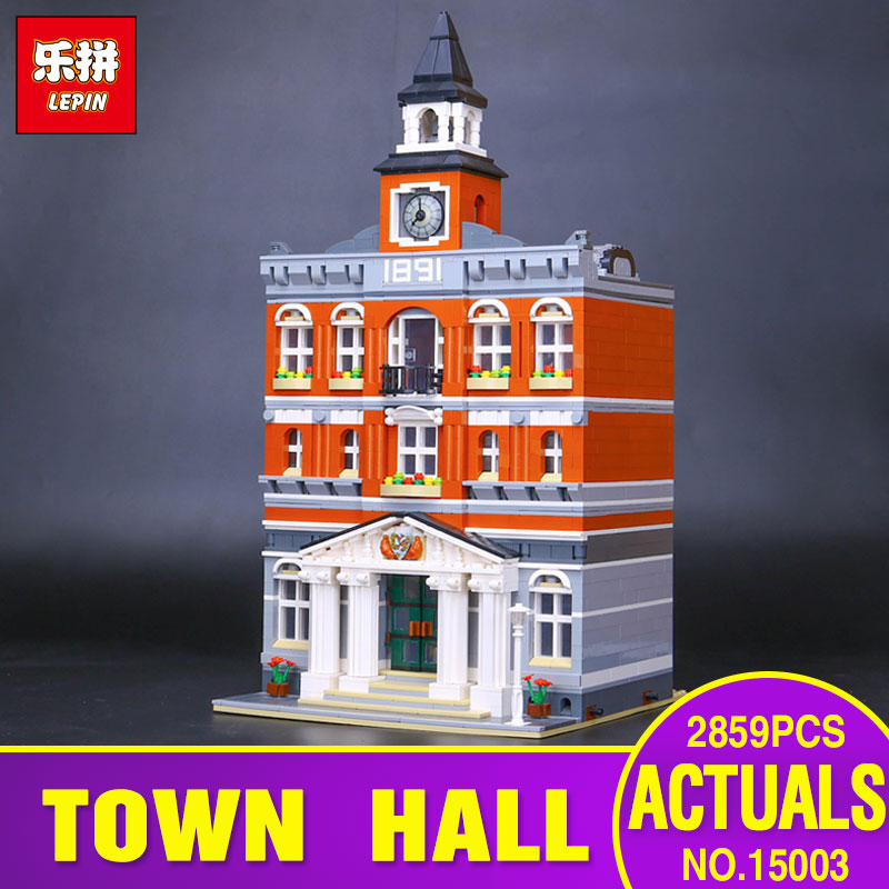 2017 New LEPIN 15003 Genuine 2859Pcs The town hall Model Building Blocks Kits Kids Toy Gift Compatible With Gift 10224 lepin 15003 2859pcs city creator town hall sets model building kits set blocks toys for children compatible with 10024