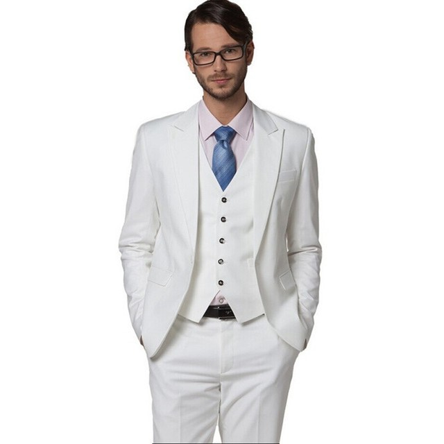 Men's Suit Man Latest Design Formal Wearing Customized Groom Wedding Tuxedos 3 Pieces (Jacket+Pants+Vest) WB053 White Suit