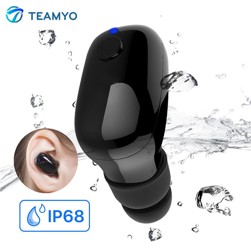Teamyo Waterproof IP68 Wireless Mini Bluetooth Earphone Headset With Mic Sport Earbuds Handsfree call for Swimming for All Phone mini bluetooth earphone smallest wireless headset earbuds with 6 hour playtime car headset with mic for iphone android phone