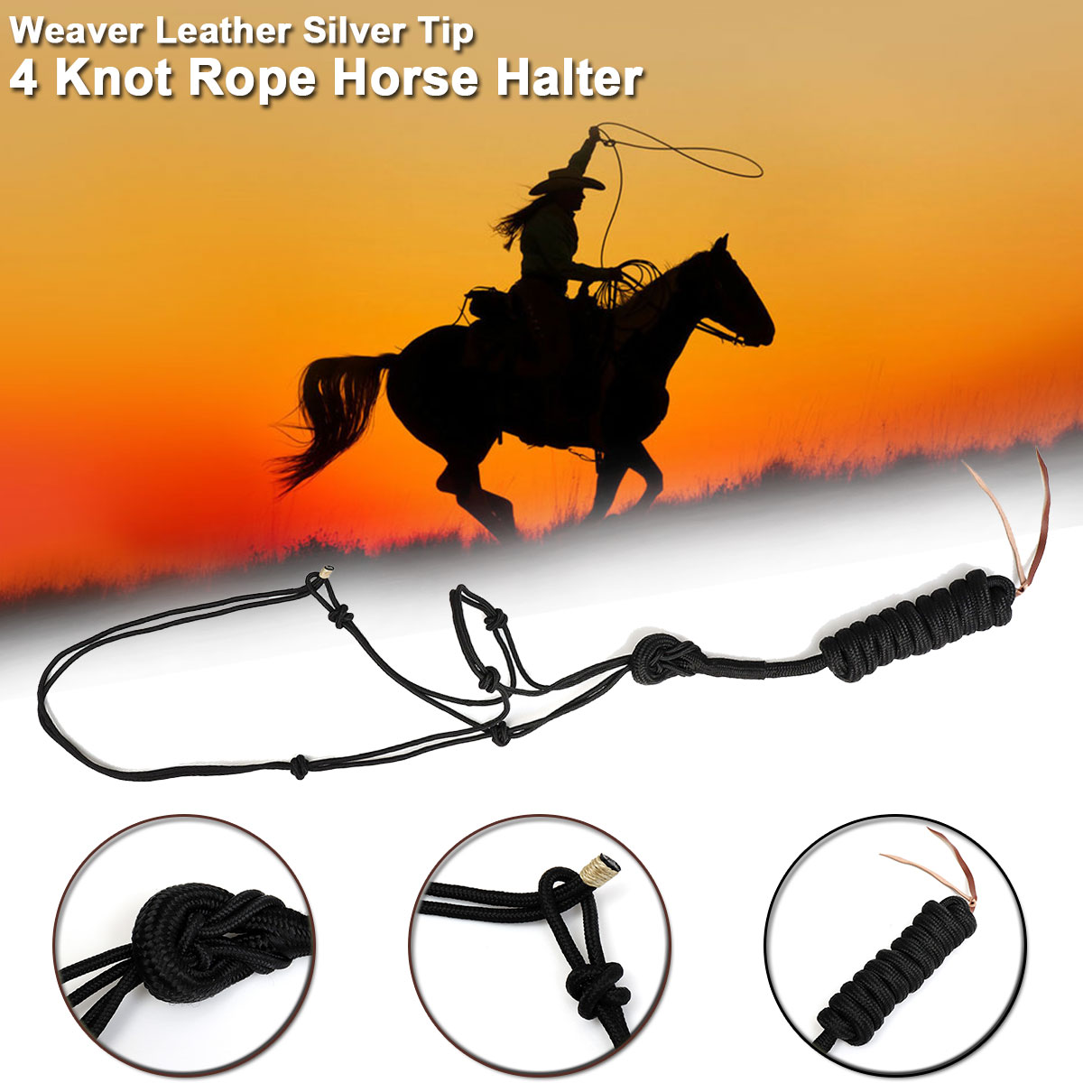 Weaver Leather Silver Tip 4 Knot Rope Horse Halter Riding Horse Racing Equestrian Sport Rope Accessories
