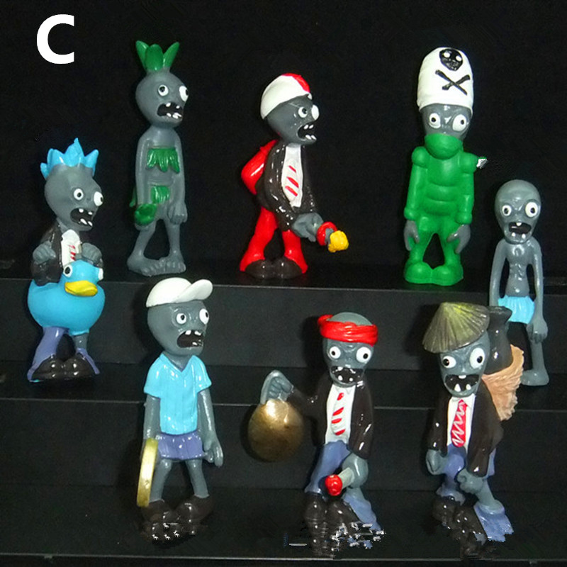Plants vs Zombies Anime <font><b>Action</b></font> <font><b>Figure</b></font> 3-7cm PVZ 8pcs/set Collection <font><b>Figures</b></font> Toys Gifts plant + zombies