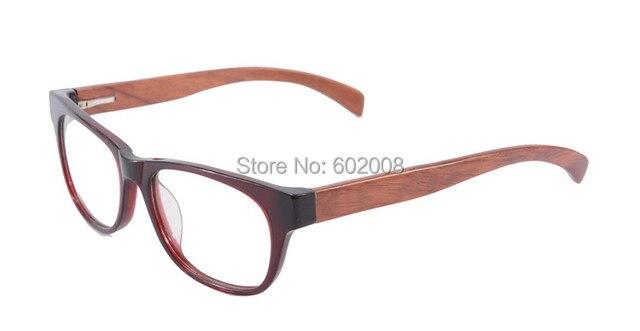 Estilo Retro de madera marco de los vidrios, lente transparente real marco de las lentes, vino de color rojo Unisex gafas F018