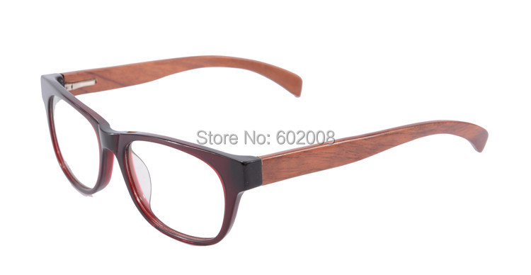retro style wooden glasses frame clear lens real wooden eyeglasses frame wine red color