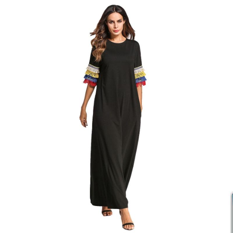 Plus size Women Europe fashion tassel sleeve muslim robe bodycom boho abaya office ball gown long maxi dresses drop ship