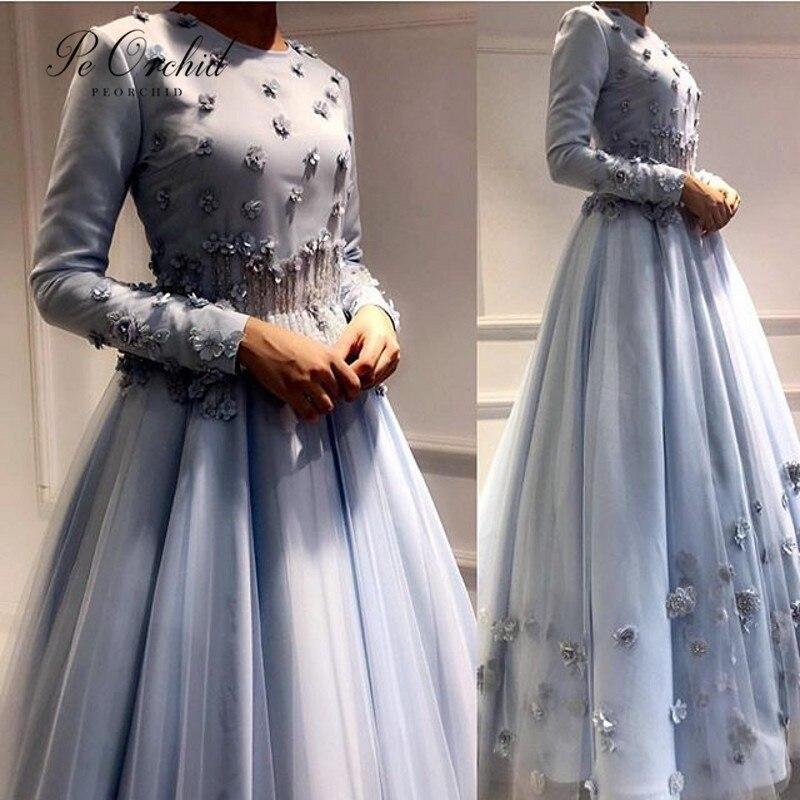 PEORCHID 2019 Saudi Arabia Evening Dress Beaded Flowers Long Sleeve Muslim Formal Dress Hijab Islamic Dubai Evening Gowns formal wear