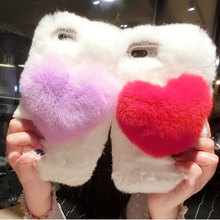 Handmade Rex Rabbit Full Furry Animal Hair Phone Case Love for Oneplus 7 1+7 Pro 6 Oneplus 5T Soft Warm Real Rabbit Fur Autumn(China)
