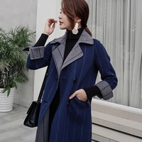 Autumn and winter new female vertical strip cashmere wool coat V neck female long section warm fashion cashmere coat jacket