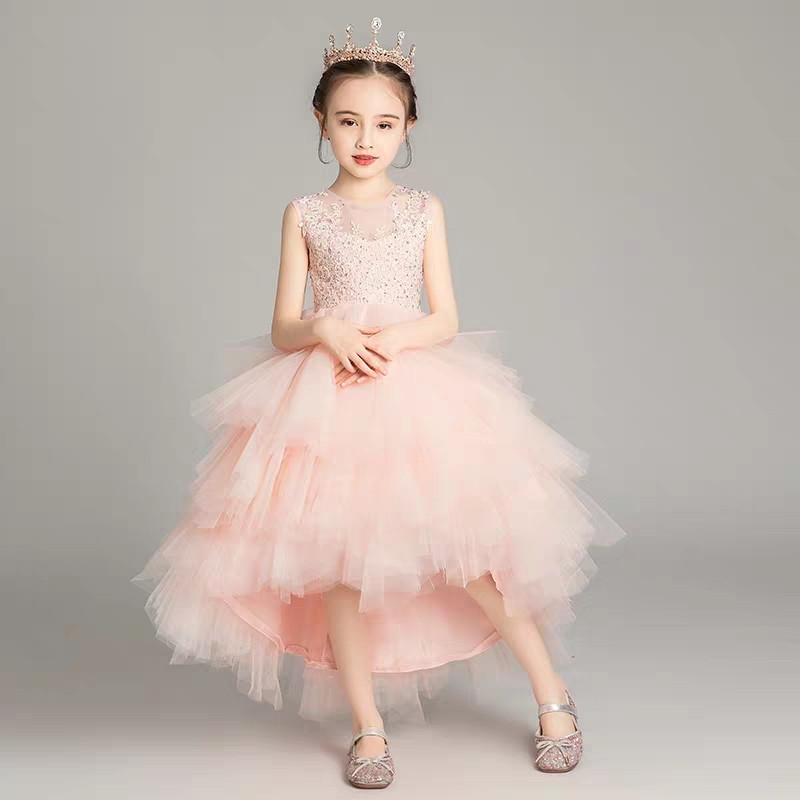 Elegant Children Girls Summer Pink/White Color Birthday Wedding Party Prom Lace Dress Kids Teens Host Pageant Piano Mesh Dress