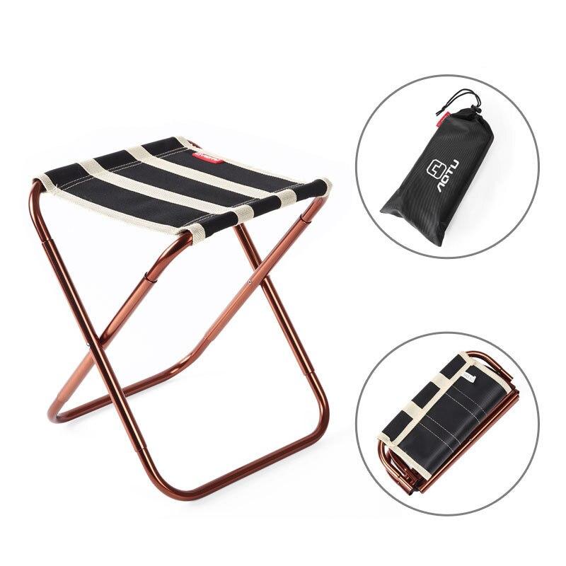 Portable En Plein Air De Pêche Chaise Pliante avec Oxford tissu D'or En Aluminium Alliage Bande Conception Camping Pliable Pique Nique avec des sacs dans Chaises de plage de Meubles