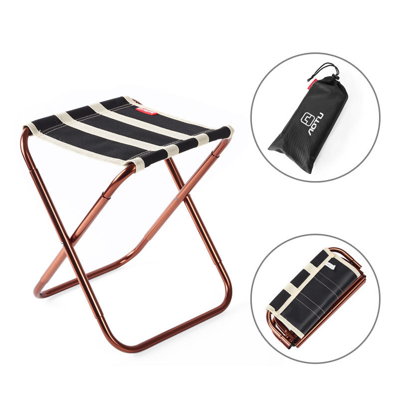 Portable Outdoor Fishing Folding Chair with Oxford fabric Golden Aluminum Alloy Stripe Design Camping Foldable Picnic with bags aluminum alloy portable outdoor tables garden folding desk with waterproof oxford cloth
