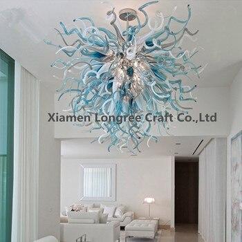 מודרני מקורה סגנון יוקרה מלון נברשת קריסטל גדול עם LED נורות חום יד מנופחת מוראנו זכוכית לסלון