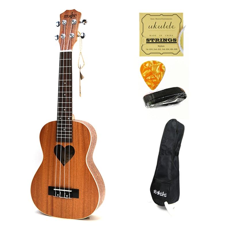 Rosewood Fingerboard Ukulele 23 4 Aquila Strings 17 Fret Hawaiian Ukelele Acoustic Guitar Heart Pattern Stringed Instruments