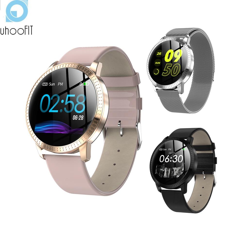 2019 nuevo Uhoofit inteligente reloj de las mujeres de los hombres podómetro reloj monitor de ritmo cardíaco rastreador de ejercicios impermeable smartwatch para Android IOS