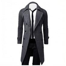 Мужские зимние куртки, шерстяные мужские длинные шерстяные мужские пальто, куртки, верхняя одежда, теплые однобортные пальто